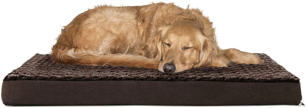 Furhaven Deluxe Orthopedic Mat Ultra Plush Faux Fur Traditional Foam Mattress Pet Bed
