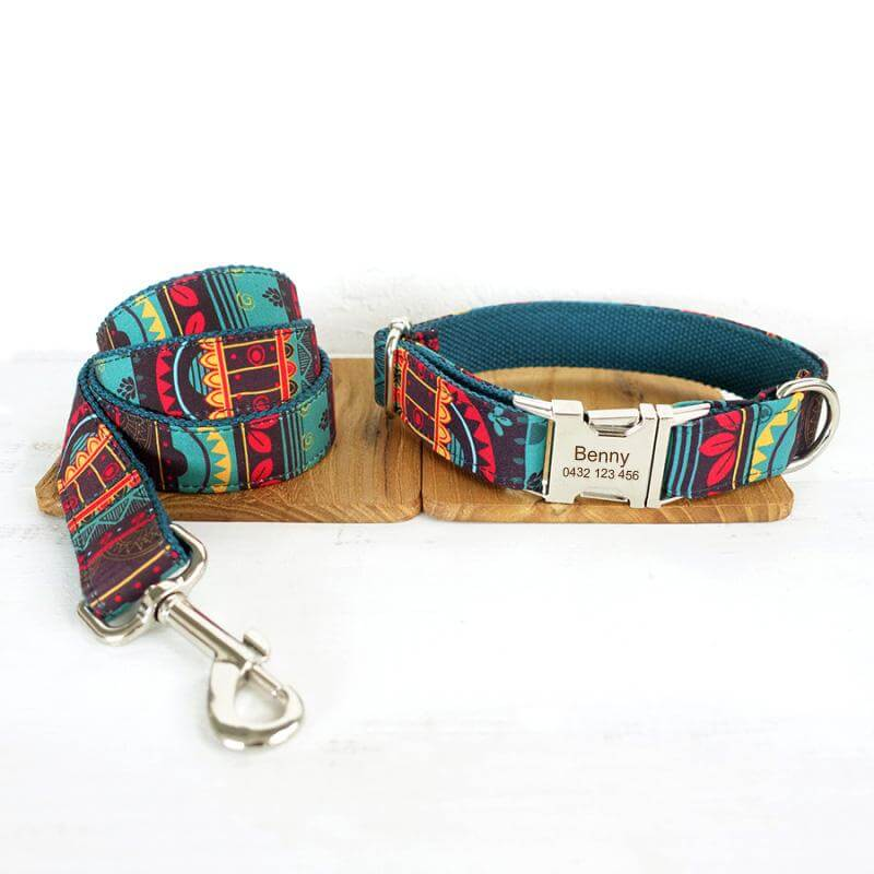 Dog Nation Handmade Personalised Dog Collar & Leash Set